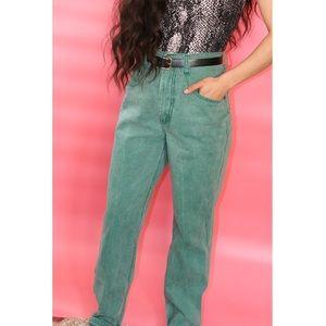 Green High Waisted Mom Jeans Denim Pants Womens 26
